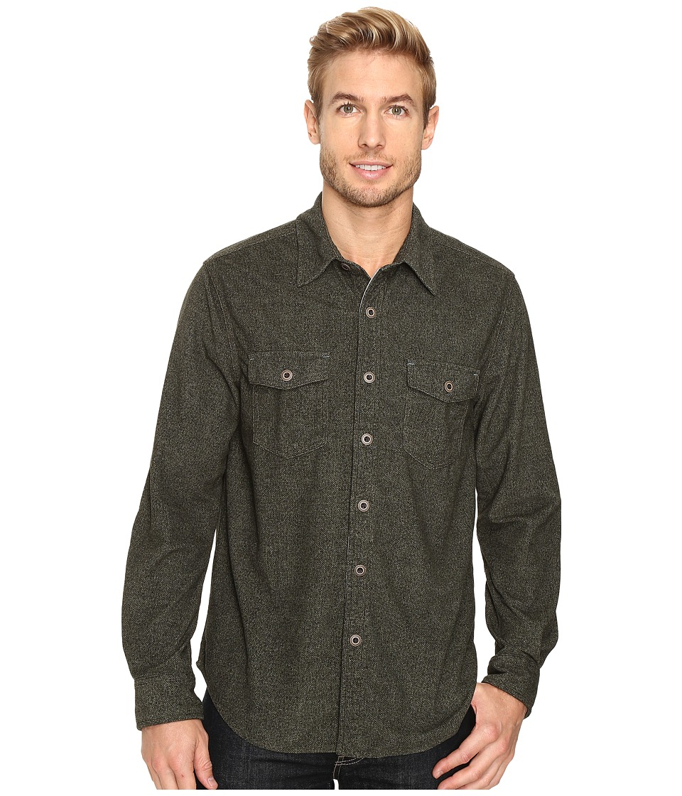 True Grit - Sueded Tweed Long Sleeve Two-Pocket Shirt (Green) Men's Clothing