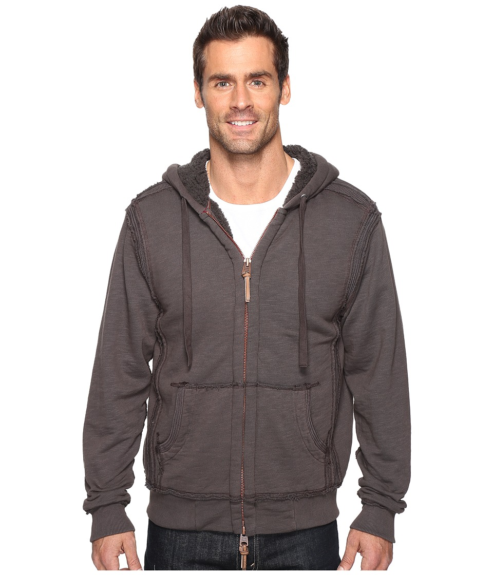 True Grit - Cashmere Terry Zip Hood Jacket with Sherpa (Vintage Black) Men's Coat