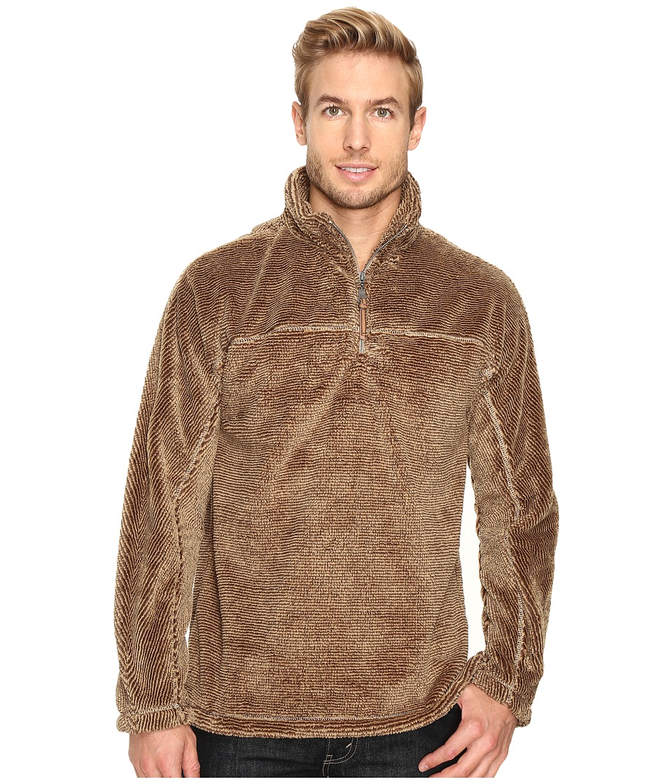 True Grit - Luxe Fleece Stripe 1/4 Zip Pullover (Brown) Men's Fleece