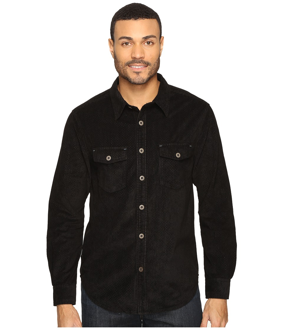 True Grit - Softest Sueded Cord Long Sleeve Two-Pocket Shirt (Black) Men's Clothing