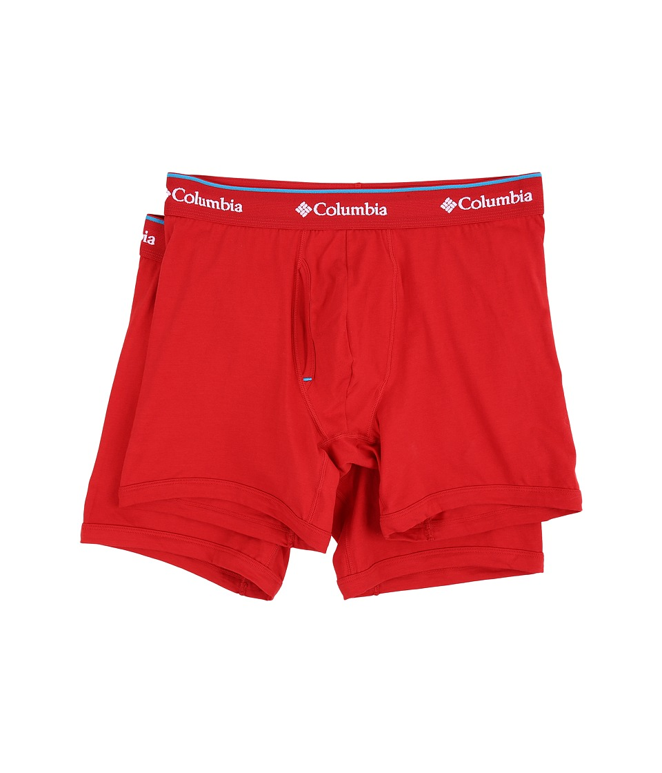 Columbia - Cotton Stretch Boxer Briefs 2-Pack (Barbados Red) Men's Underwear