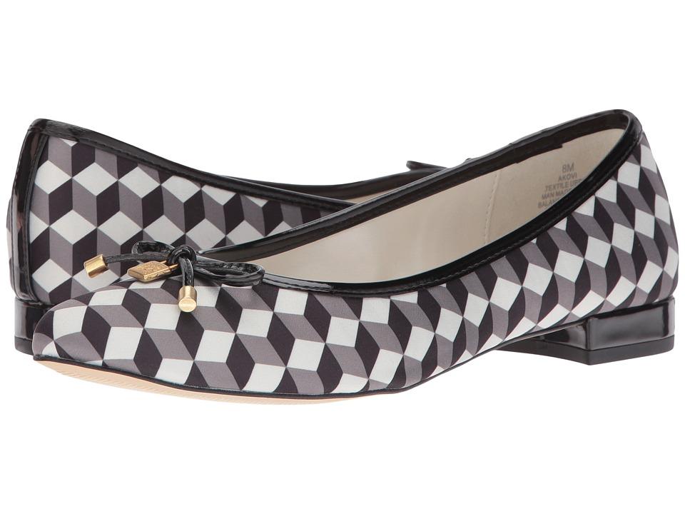 Anne Klein - Ovi (Black White Multi/Black Fabric) Women's Flat Shoes