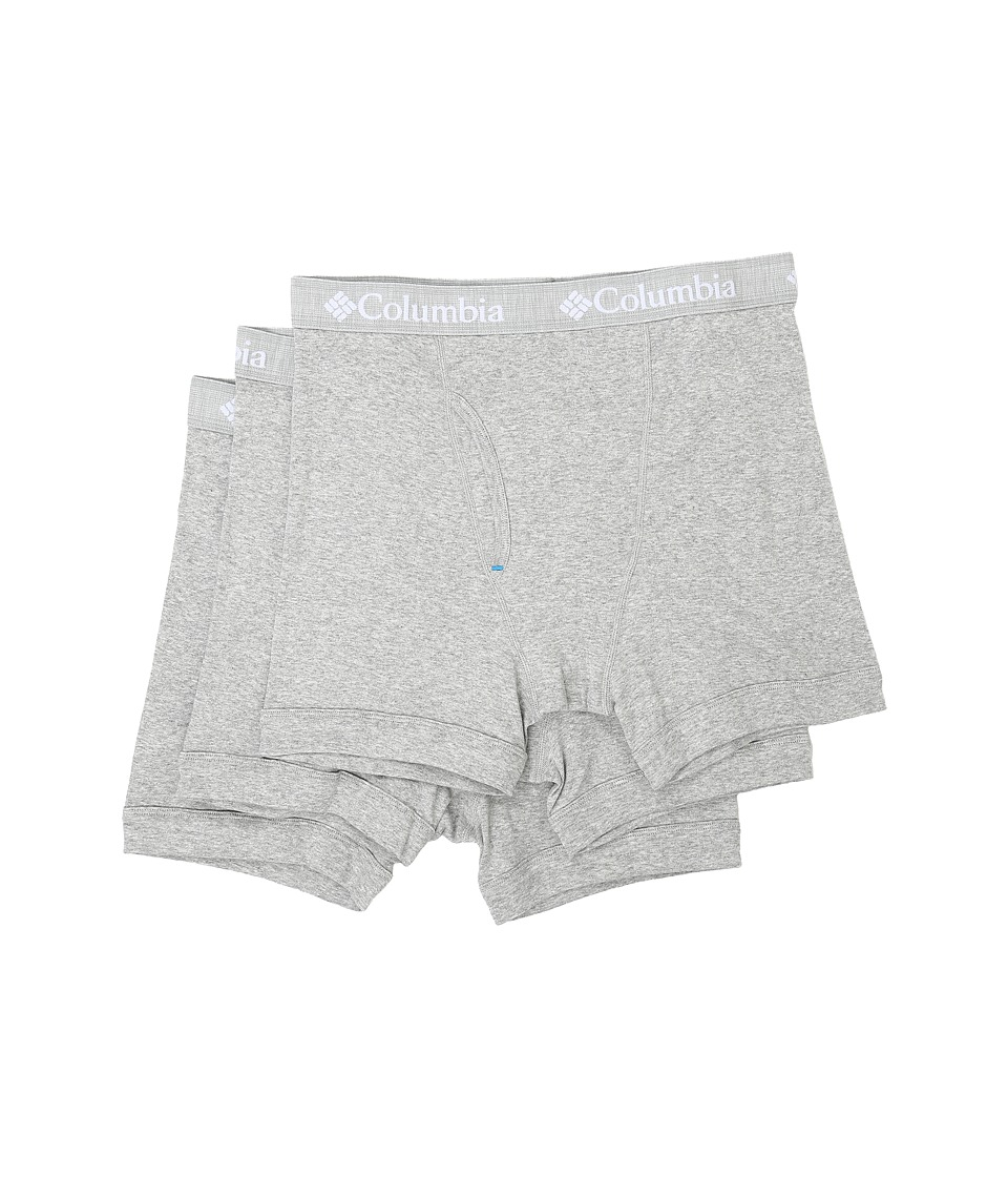 Columbia - 100% Cotton Boxer Briefs 3-Pack (Grey Heather) Men's Underwear