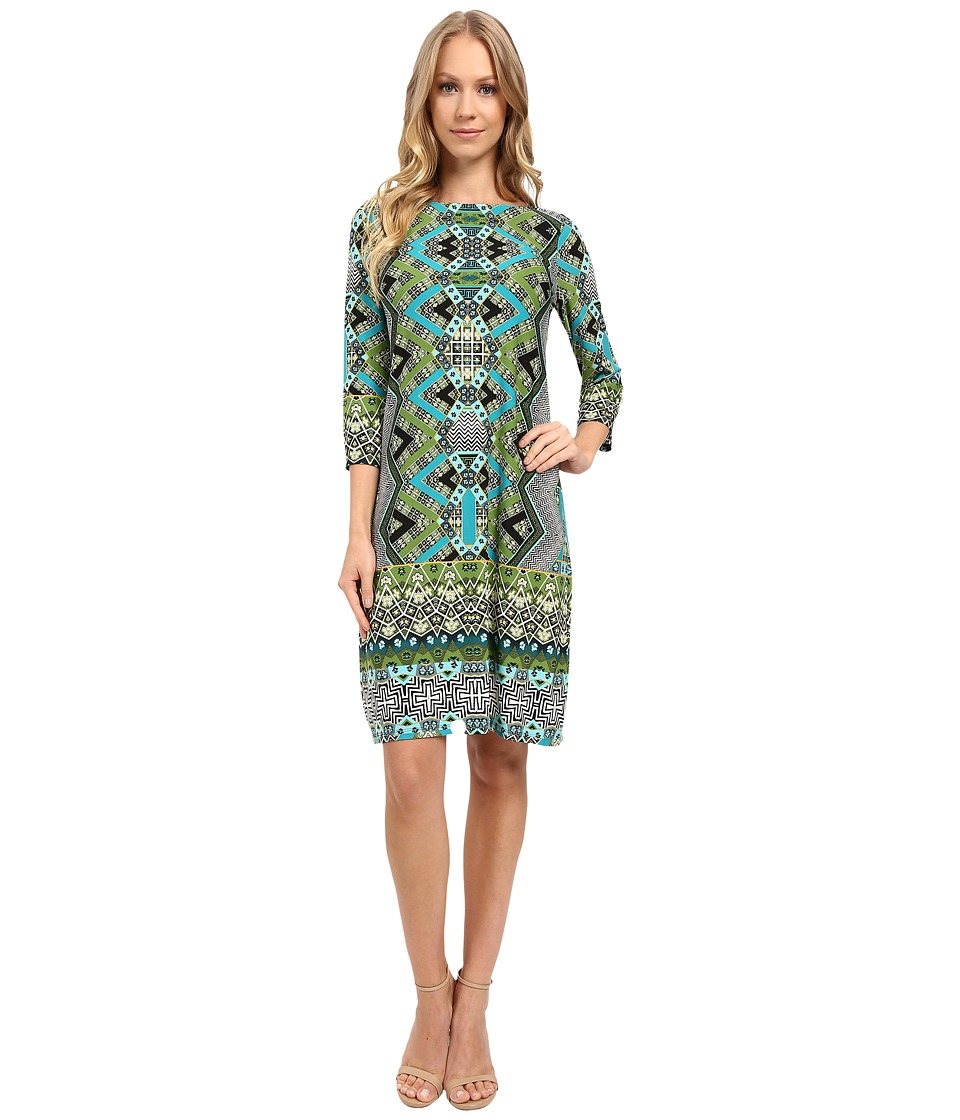 London Times - Chevron Puzzle Long Sleeve Shift Dress (Teal Multi) Women's Dress