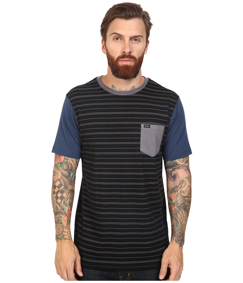 RVCA - Change Up Crew (Black/Blue) Men's Short Sleeve Pullover