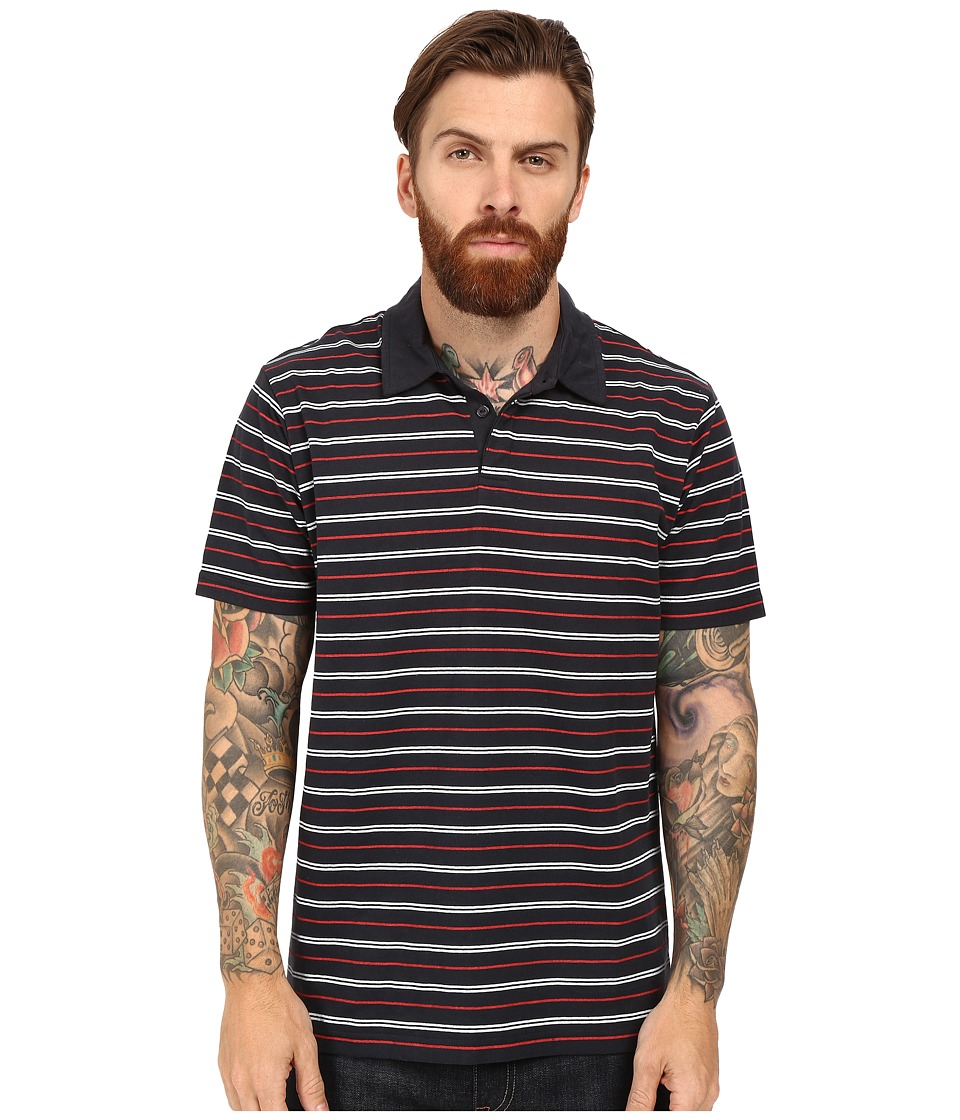RVCA - Sure Thing Stripe Polo (Pre-Pompei Red) Men's Short Sleeve Knit