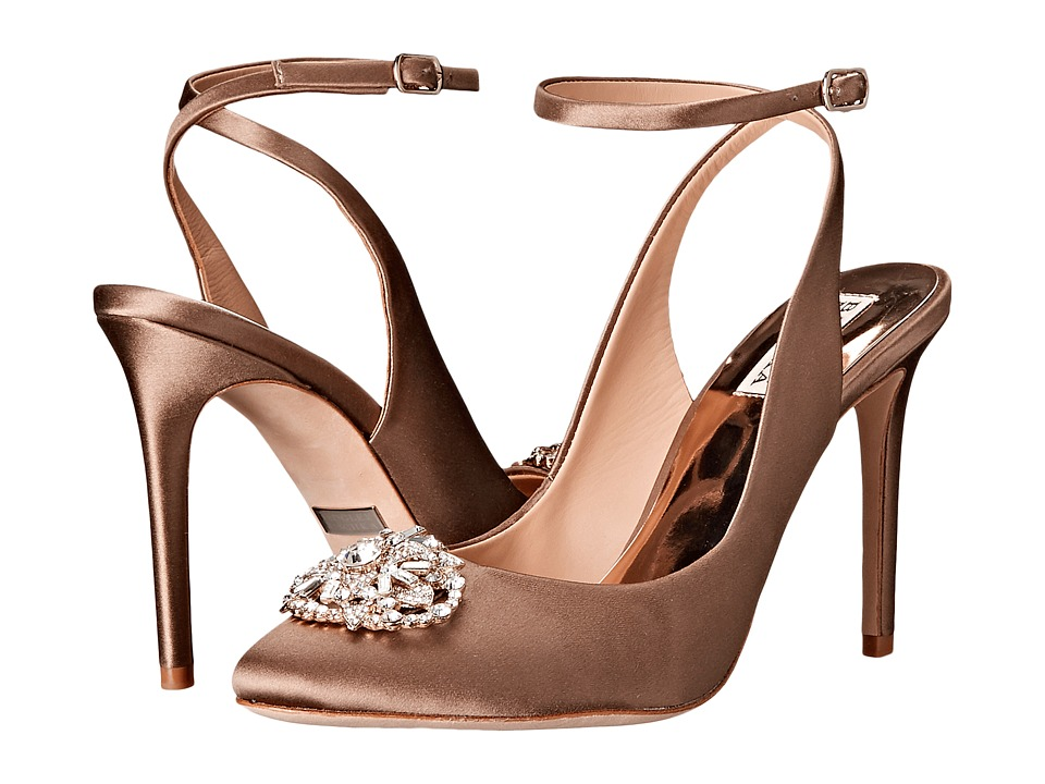 Badgley Mischka Darwyn Taupe Satin Womens Dress Sandals