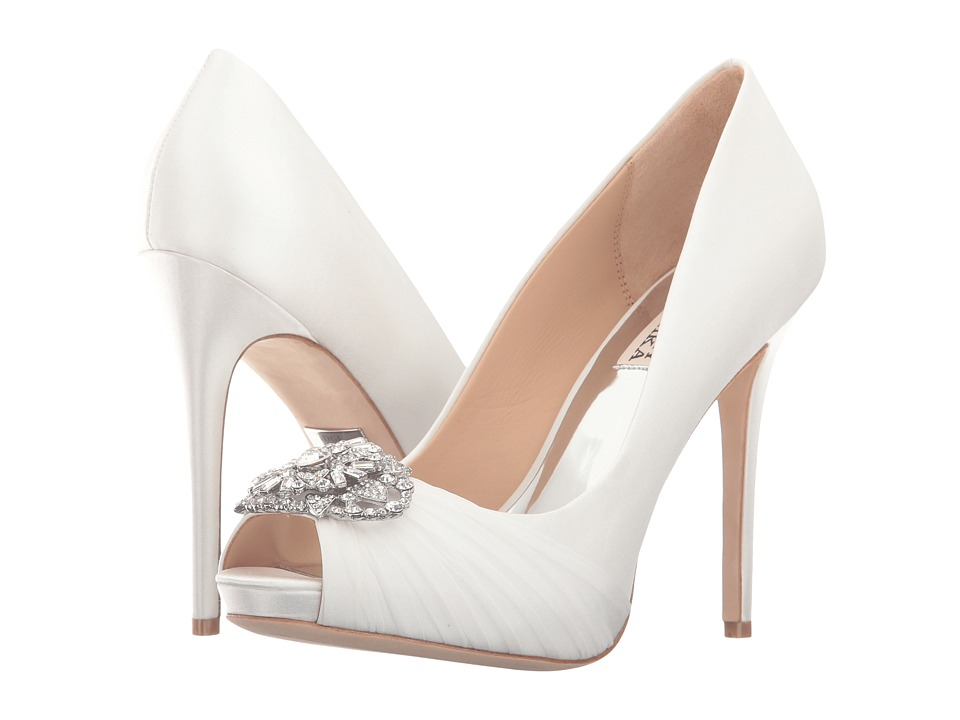 Badgley Mischka - Desi (White Satin/Silk Chiffon) Women's Bridal Shoes
