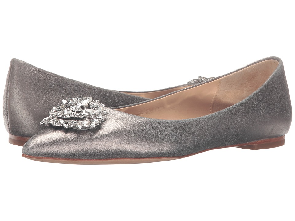 Badgley Mischka Davis II Pewter Metallic Suede Womens Dress Flat Shoes