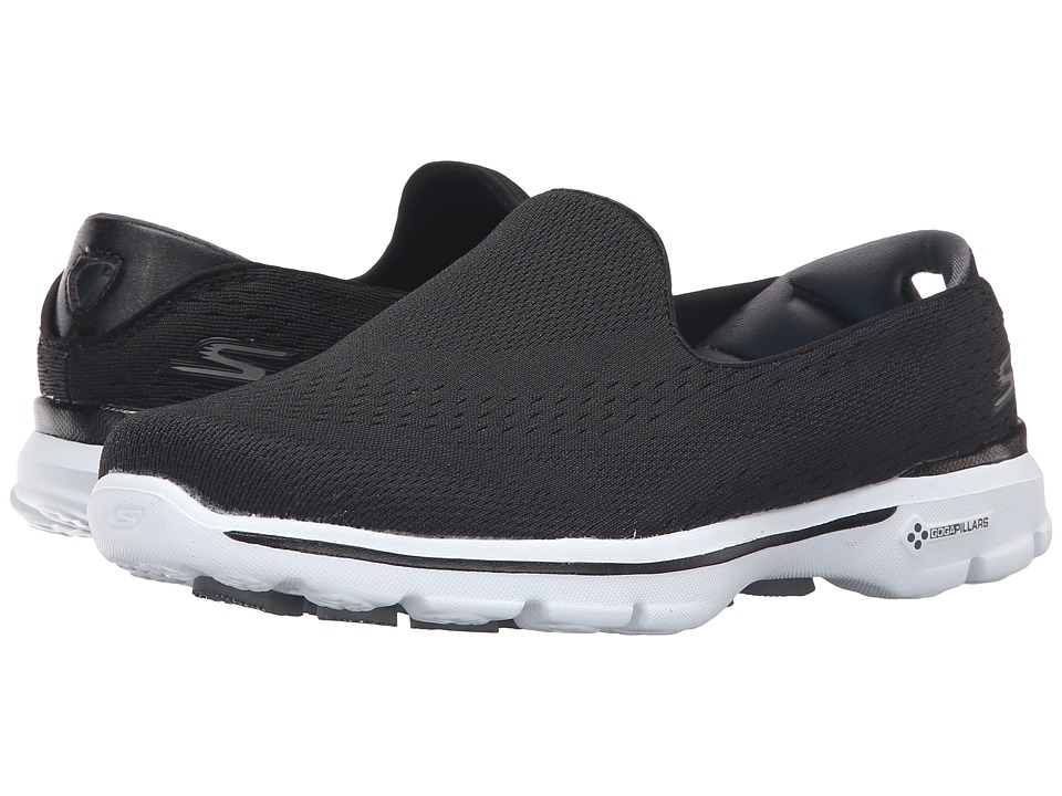 SKECHERS Performance - Go Walk 3 - Dominate (Black/White) Women's Flat Shoes