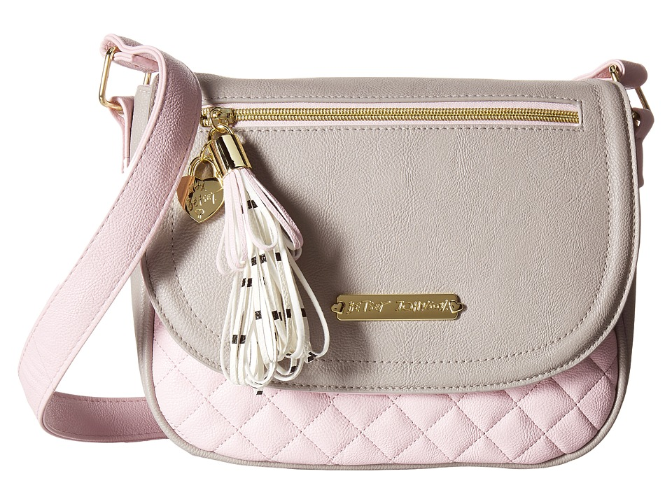 Betsey Johnson - Loop Tassel Saddle Bag (Grey/Pink) Bags