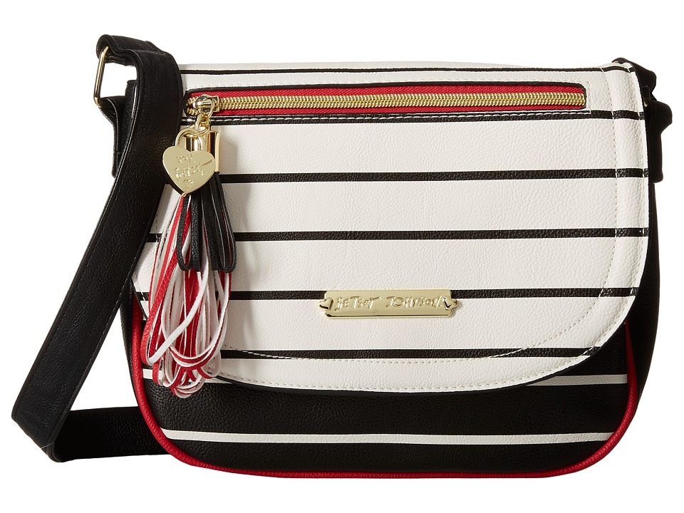 Betsey Johnson - Loop Tassel Saddle Bag (Stripe) Bags