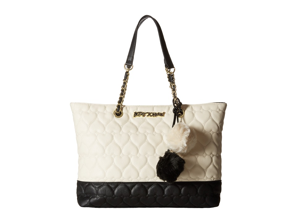 Betsey Johnson - East/West Tote (Cream/Black) Tote Handbags