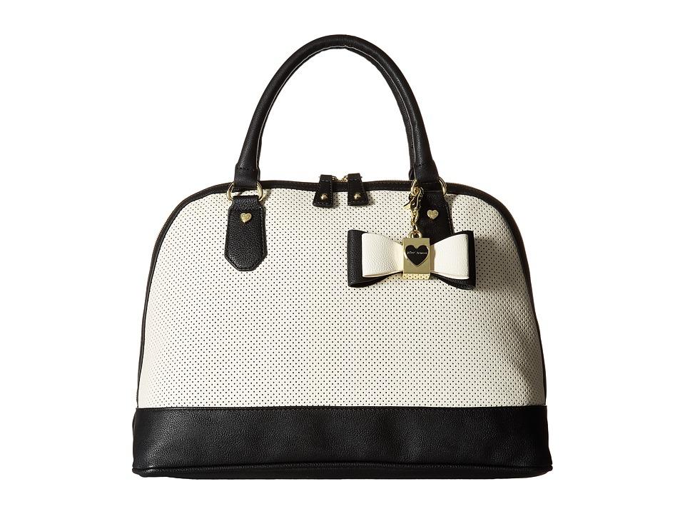 Betsey Johnson - Perf Heart Dome (Bone/Black) Handbags