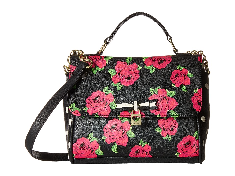 Betsey Johnson - Top-Handle Crossbody (Black Floral) Top-handle Handbags