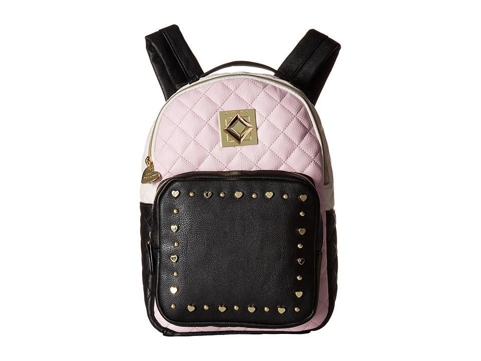 Betsey Johnson - Heart Stud Backpack (Pink/Black) Backpack Bags