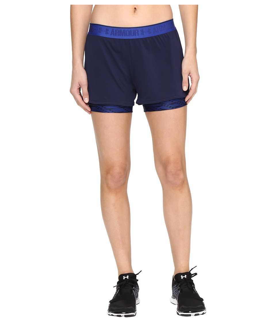 Under Armour - UA HeatGear(r) Armour 2-in-1 Printed Shorty (Midnight Navy/Royal) Women's Shorts
