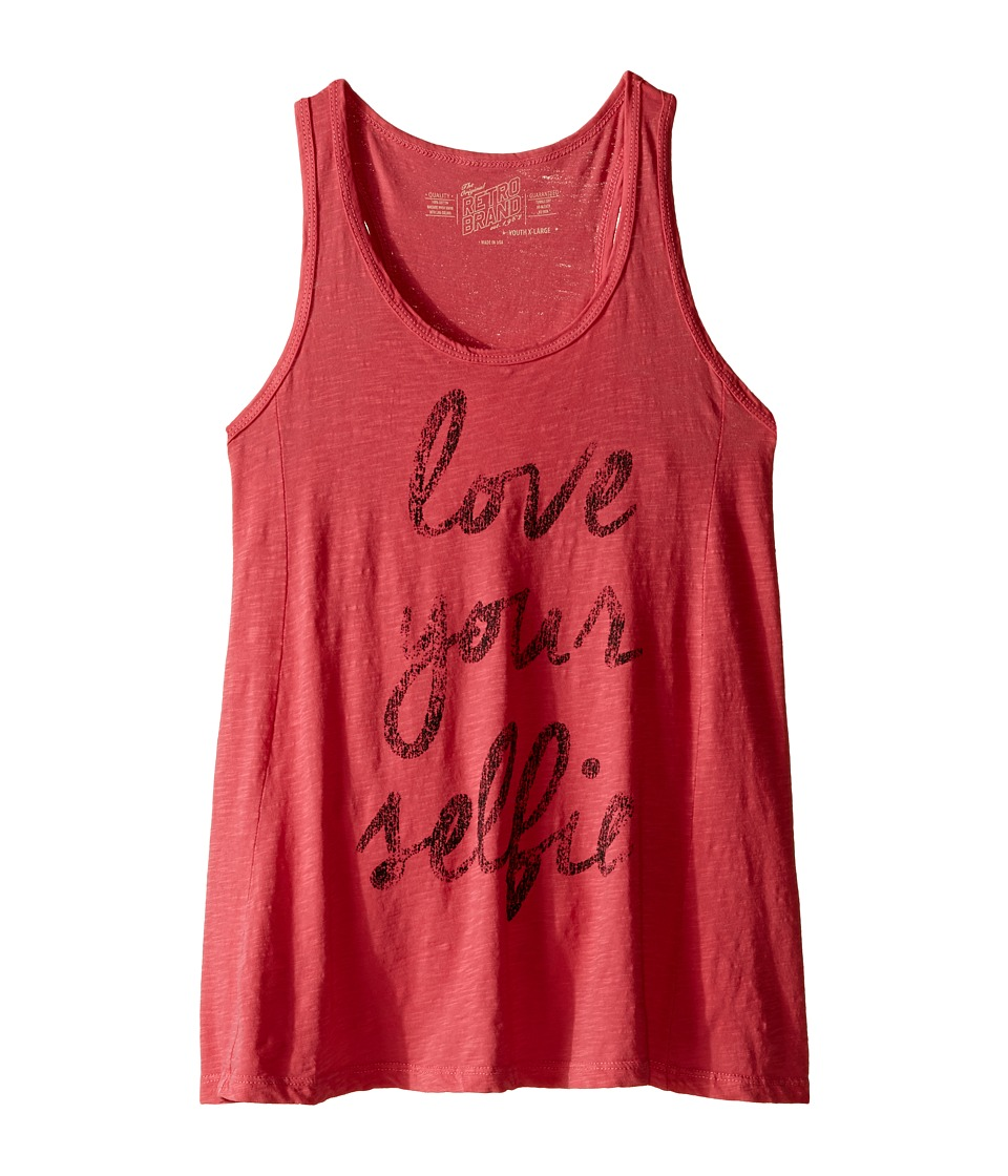 The Original Retro Brand Kids - Love Your Selfie Racerback Tank Top (Big Kids) (Watermelon) Girl's Sleeveless