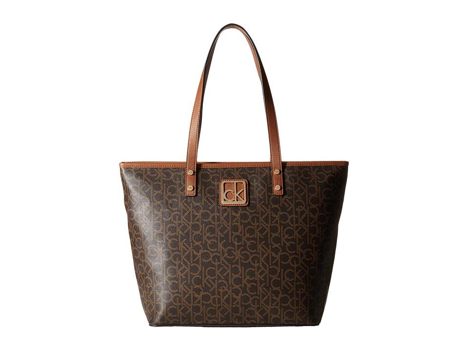 Calvin Klein - Key Item Monogram Tote (Brown/Khaki/Luggage) Tote Handbags