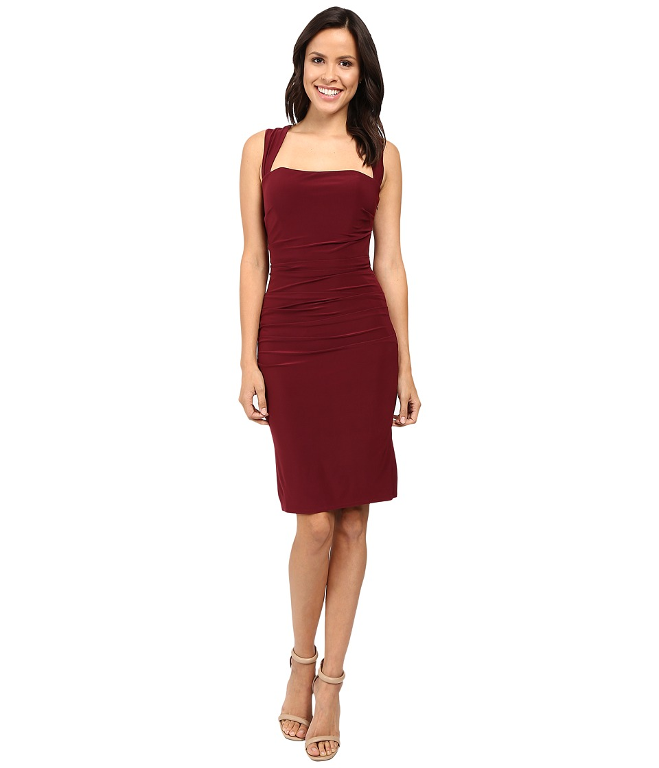 Laundry by Shelli Segal - X-Back Jersey Cocktail Dress (Deep Garnet) Women's Dress