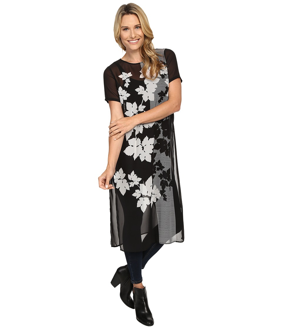 Vince Camuto - Short Sleeve Floral Screen Panel Long Tunic (Rich Black) Women's Blouse