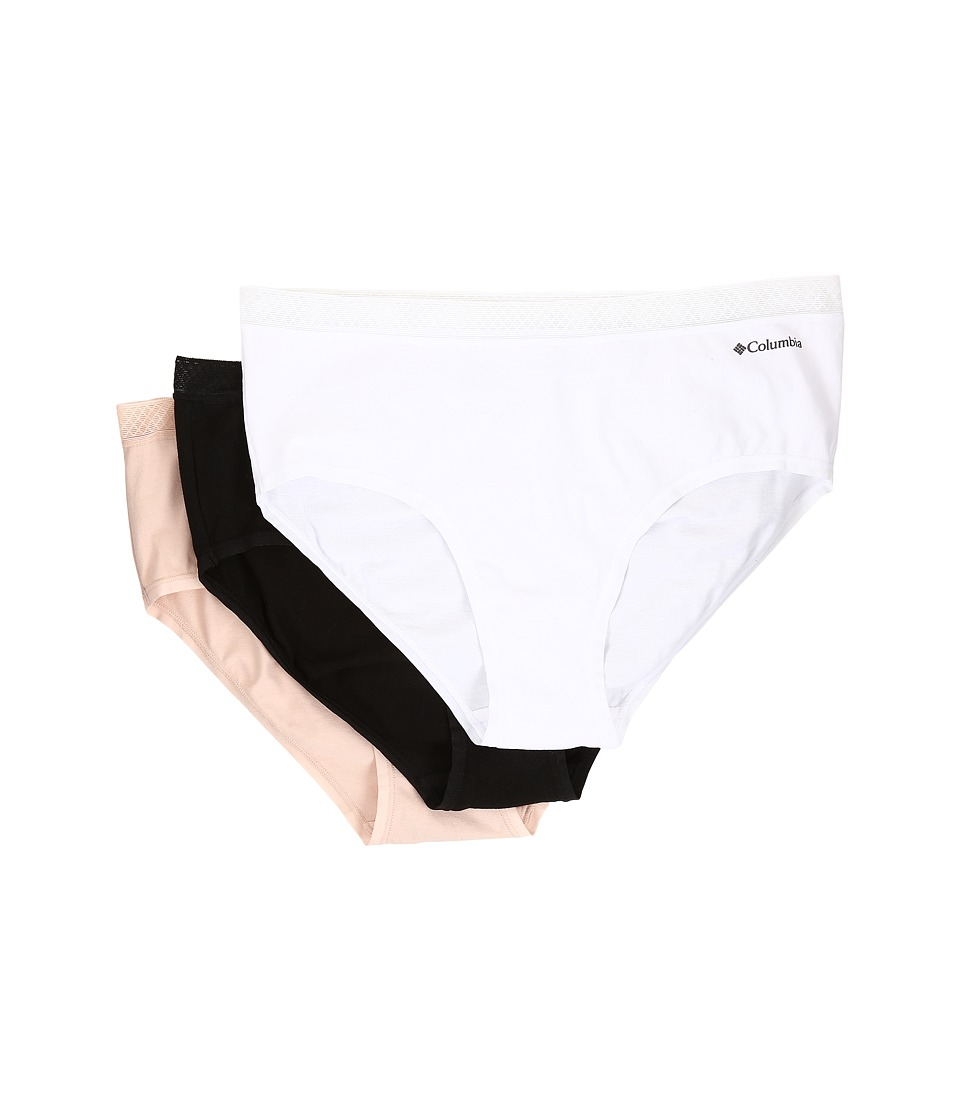 Columbia - Cotton Stretch w/ Lace Hipster 3-Pack (White/Peach/Black) Women's Underwear
