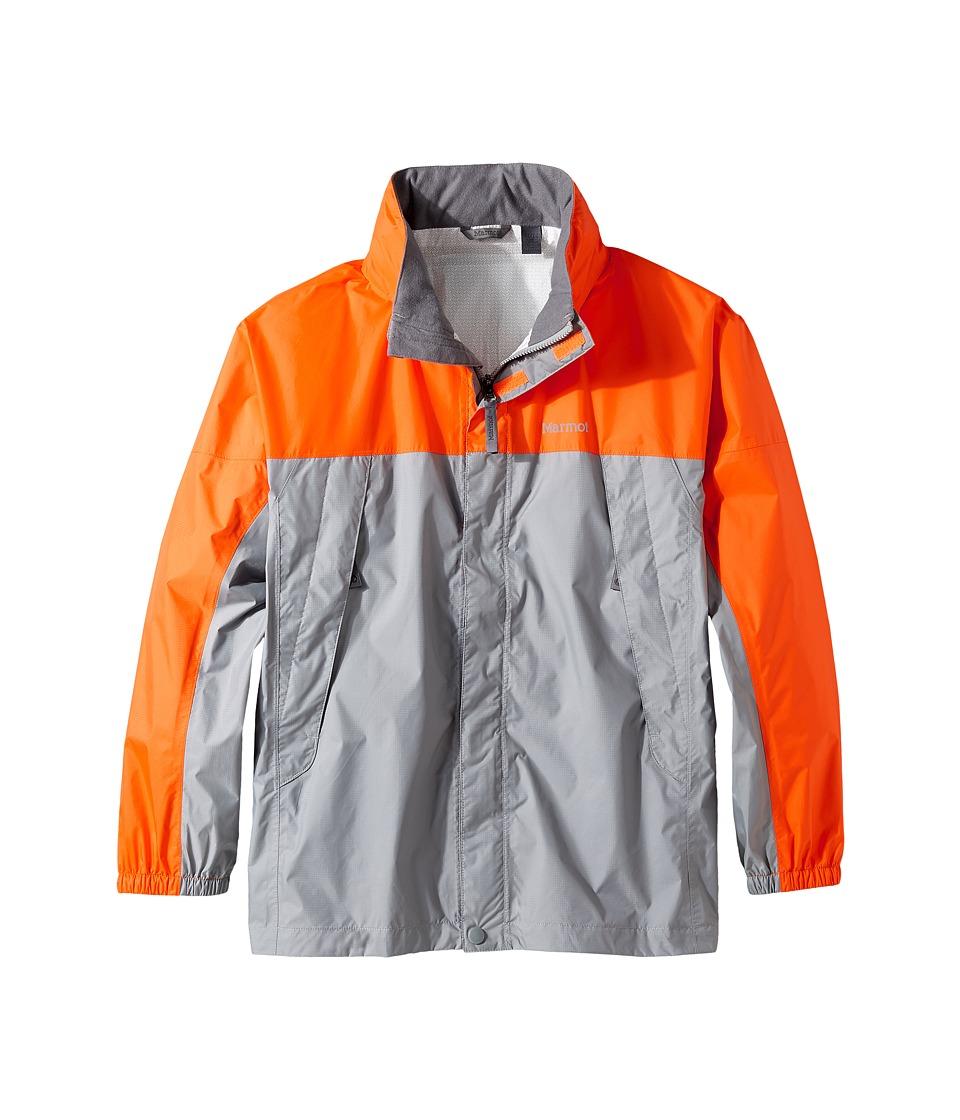 Marmot Kids - PreCip(r) Jacket (Little Kids/Big Kids) (Gray Storm/Bright Orange) Boy's Coat