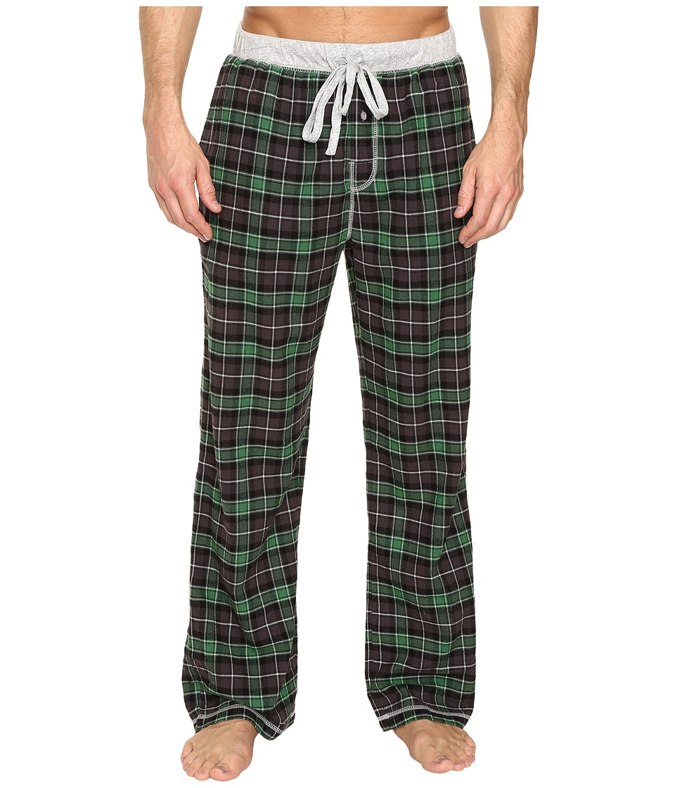True Grit - Vintage Flannel Bowery Check Flannel Pants with Heather Knit Trim (Green) Men's Casual Pants
