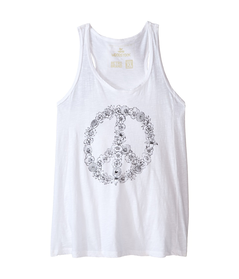 The Original Retro Brand Kids - Floral Peace Sign Racerback Tank Top (Big Kids) (White) Girl's Sleeveless