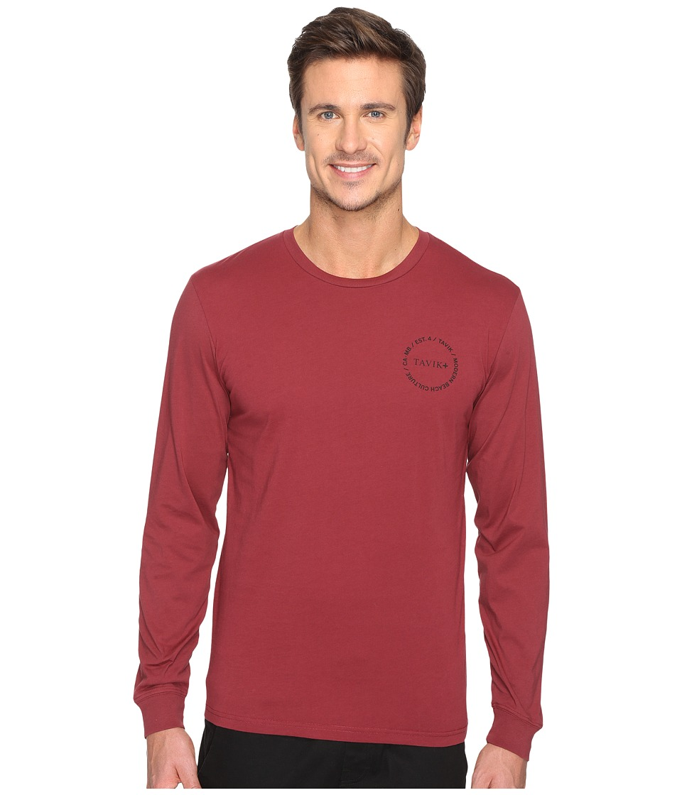 Tavik - Crew Long Sleeve T-Shirt (Oxblood) Men's T Shirt