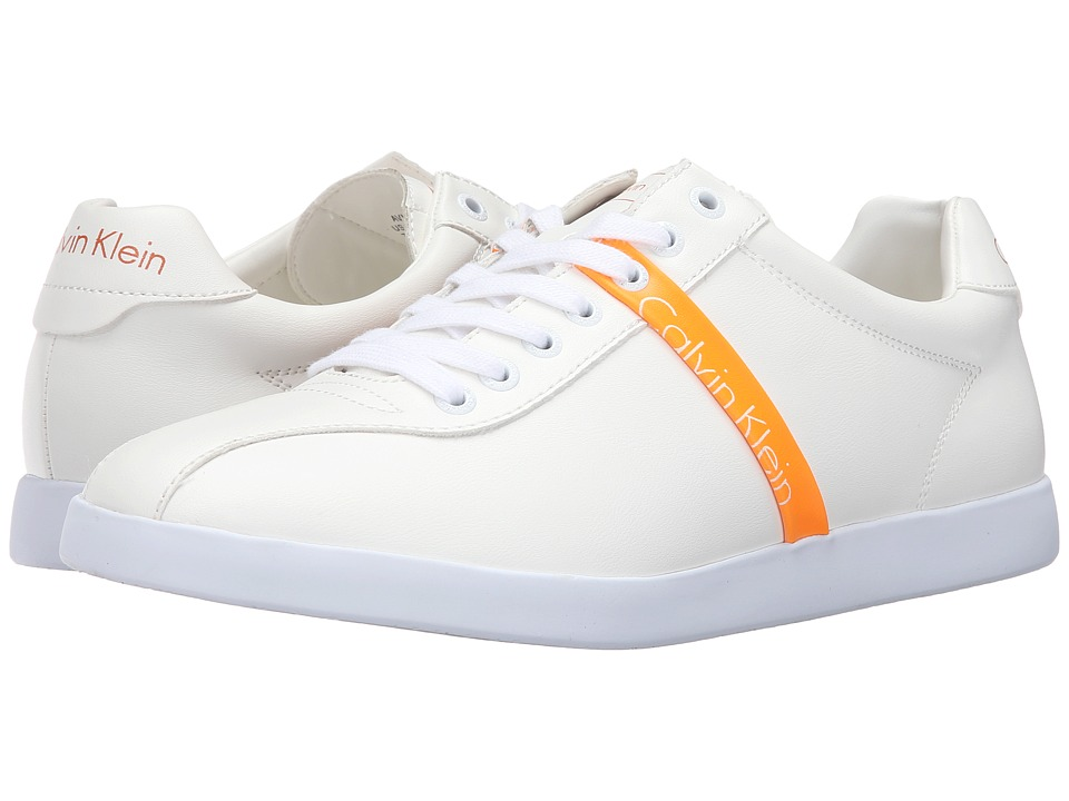 Calvin Klein Jeans Avi (White/Florescent Orange Matte Nappa Smooth) Men