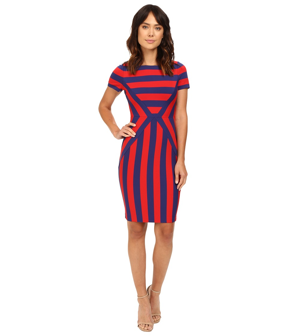 NUE by Shani - Color Blocking Strip Knit Dress (Red/Indigo) Women's Dress