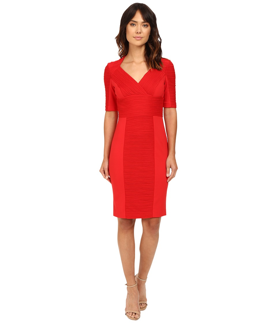 NUE by Shani Cross-Over V-neck Knit Dress (Red) Women