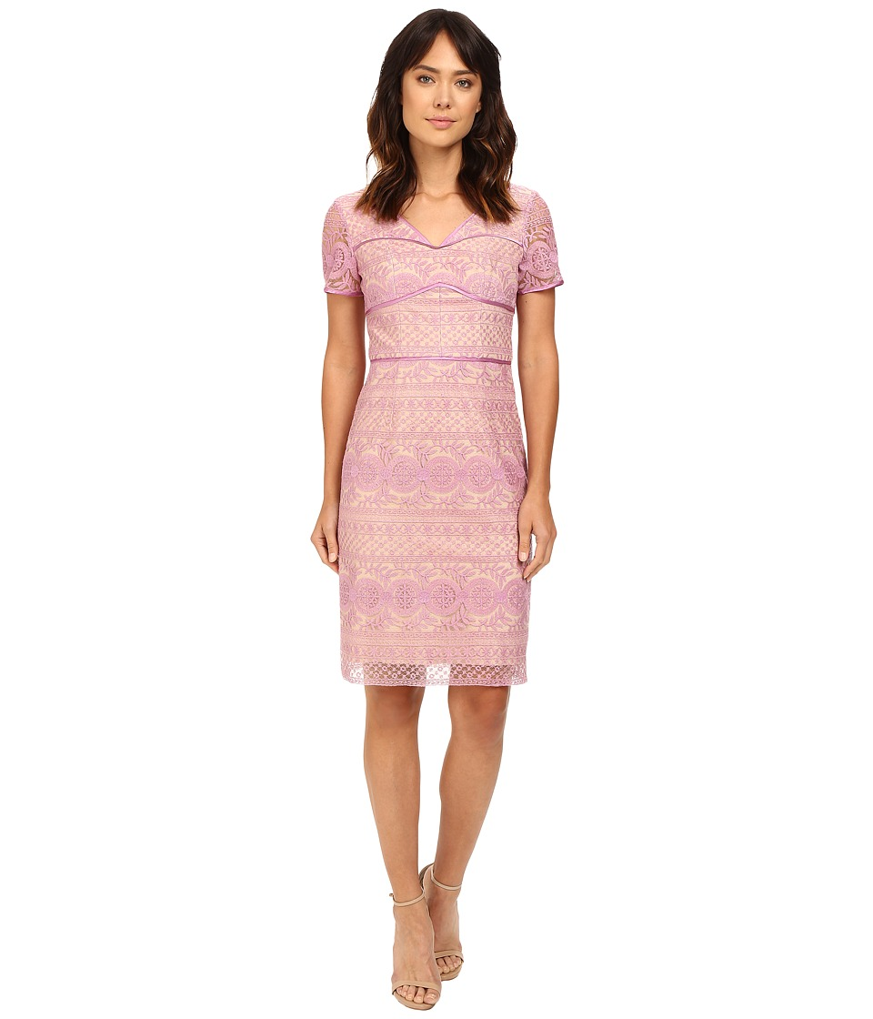 NUE by Shani - Lilac Lace Dress with V-Neck and Short Sleeves (Lilac) Women's Dress