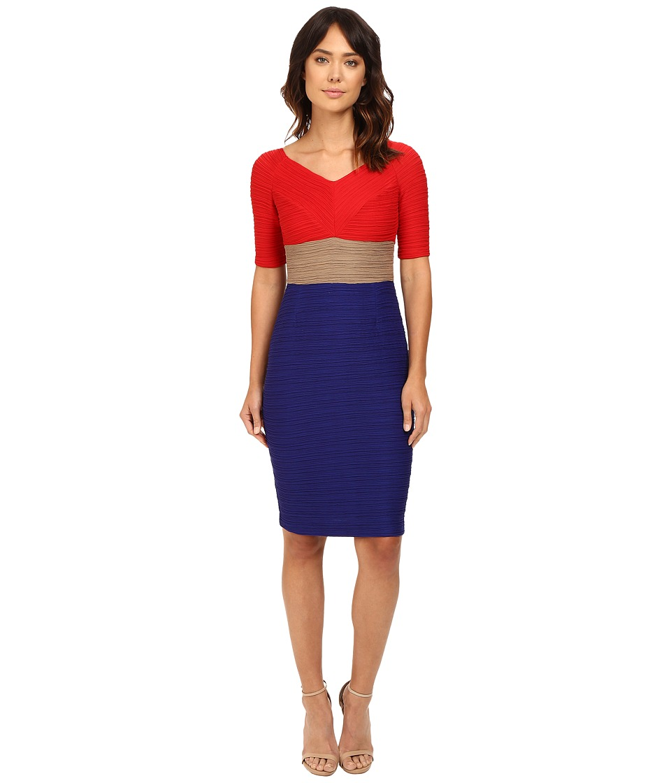 NUE by Shani - Tri-Color Blocking Dress Worn Off the Shoulders (Red/Indigo) Women's Dress