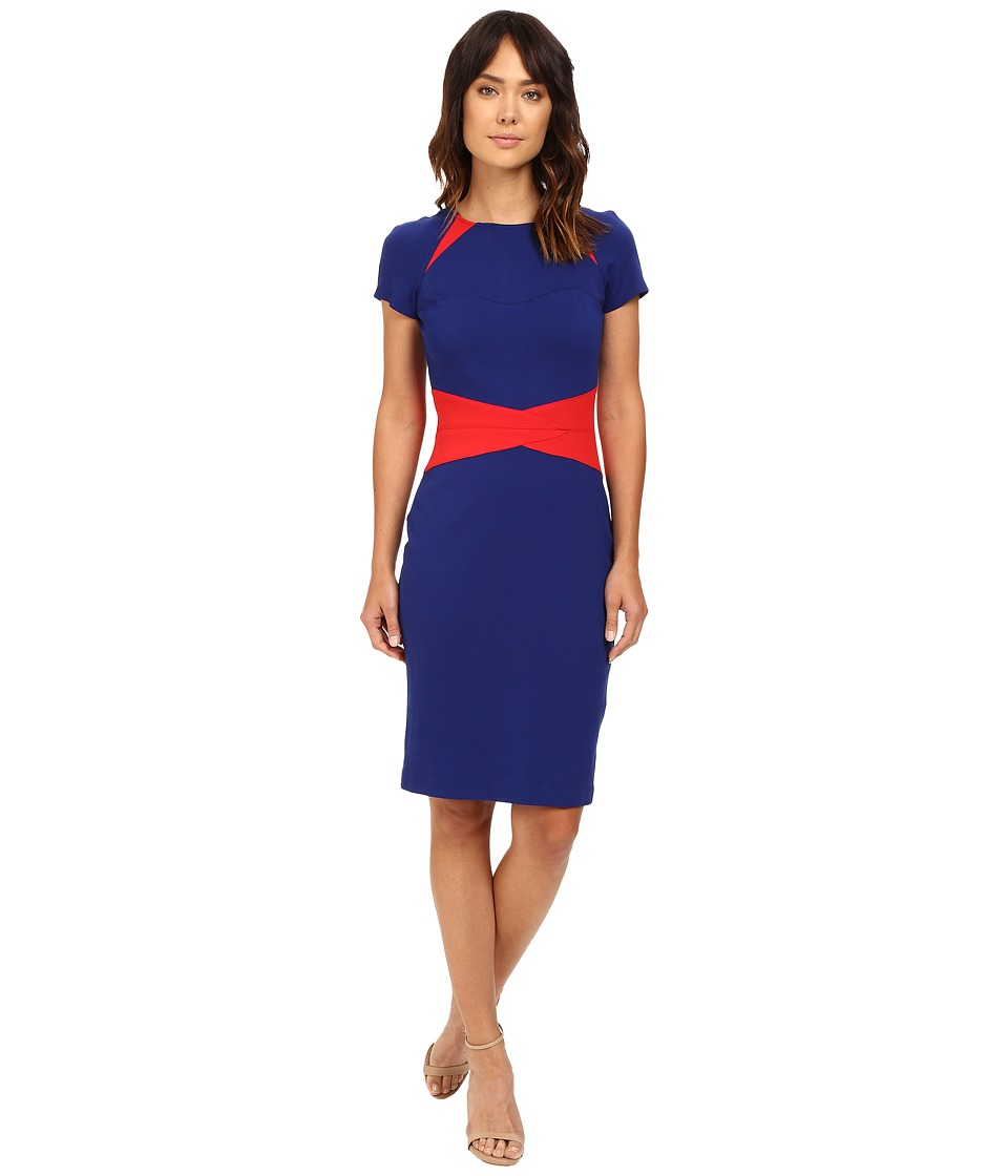 NUE by Shani - Color Blocking Knit Dress with Insets At Neckline and Waist (Red/Indigo) Women's Dress