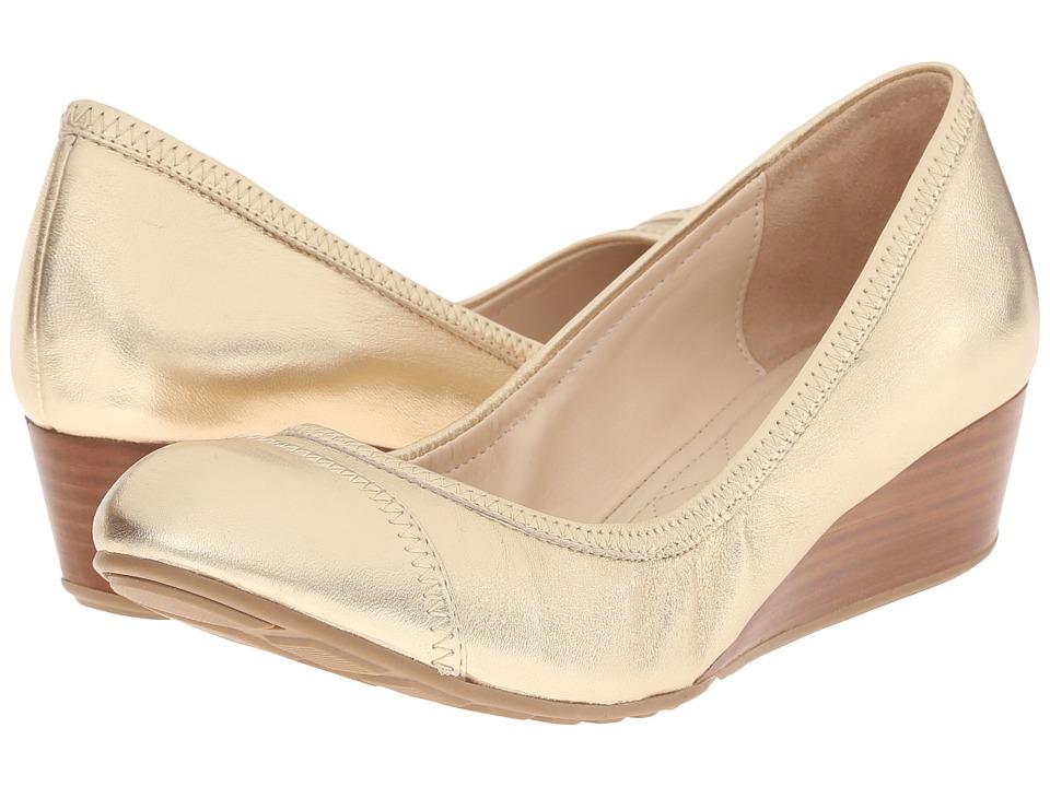 Cole Haan - Tali Cap Toe Wedge 40 (Gold Metallic) Women's Wedge Shoes