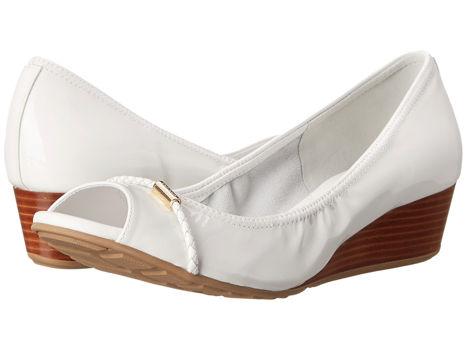 Cole Haan - Tali Open Toe Wedge 40 (Optic Whte Patent) Women's Wedge Shoes
