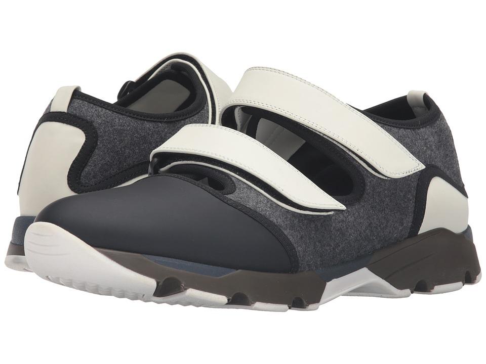MARNI - Felt/Rubberized Fabric Sneaker (White/Grey/Black) Men's Shoes