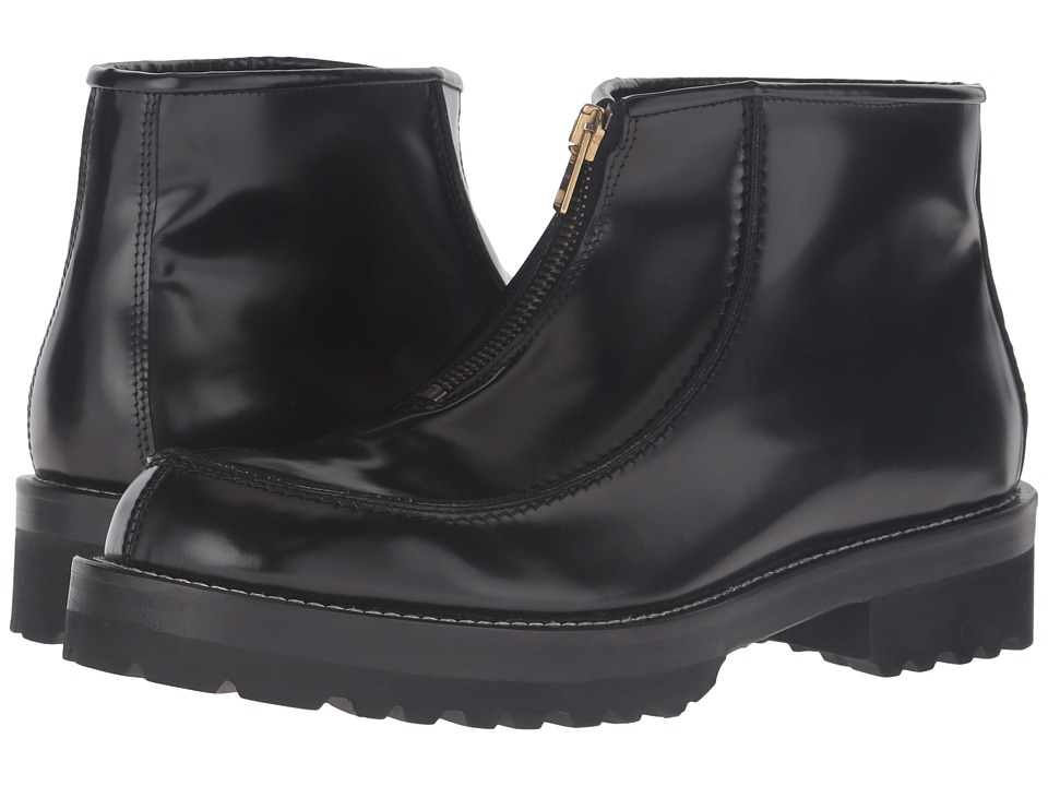 MARNI - Brushed Leather Zip-Up Boot (Black) Men's Zip Boots