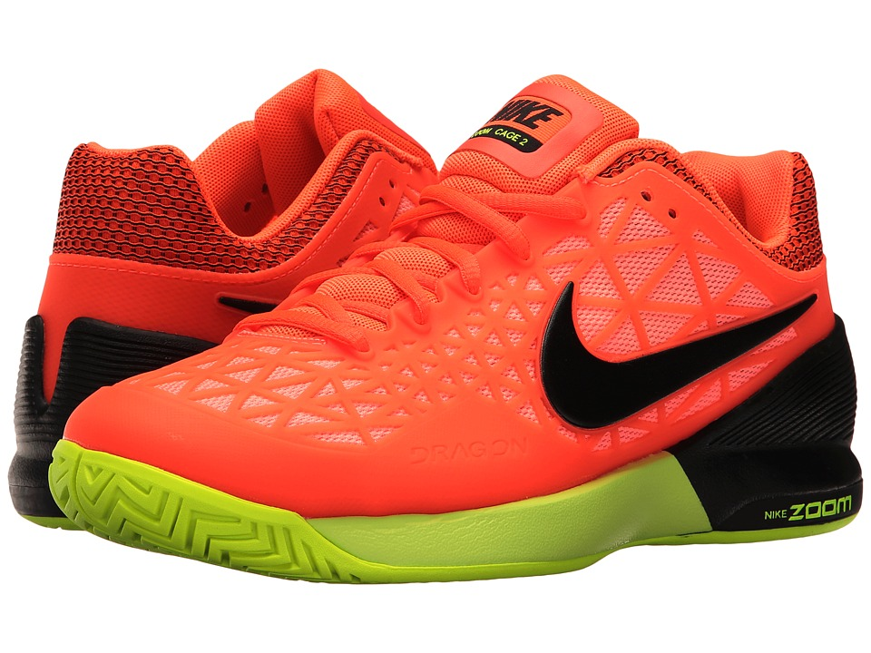 Nike - Zoom Cage 2 (Hyper Orange/Black/Lava Glow/Volt) Women's Tennis Shoes