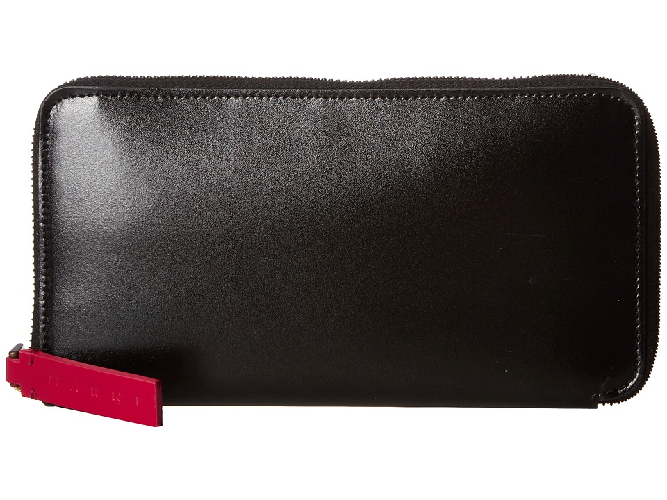 MARNI - Bicolor Calf Leather Card Wallet (Black/Red) Wallet Handbags
