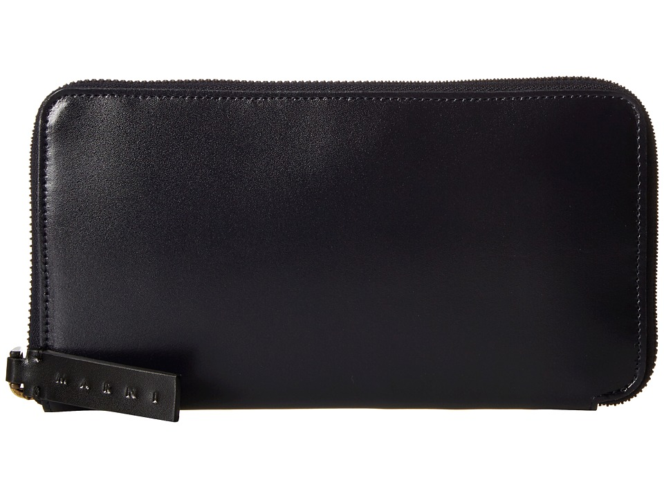 MARNI - Bicolor Calf Leather Card Wallet (Navy/Black) Wallet Handbags