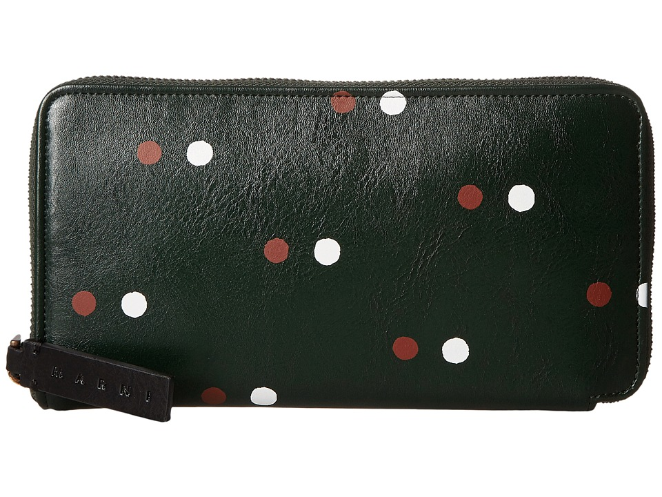 MARNI - Pois Synthetic Leather Card Wallet (Green) Wallet Handbags