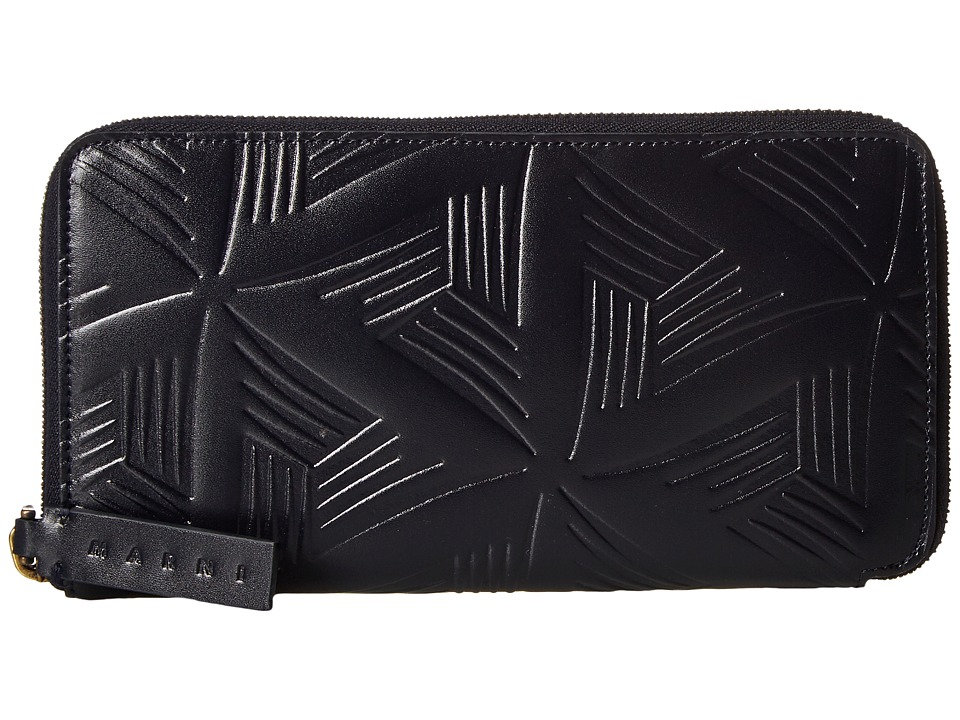 MARNI - Flower Embossed Calf Leather Card Wallet (Navy) Wallet Handbags
