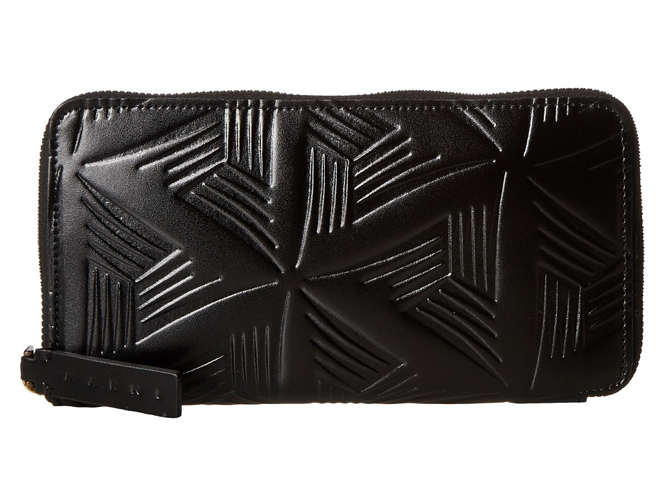 MARNI - Flower Embossed Calf Leather Card Wallet (Black) Wallet Handbags