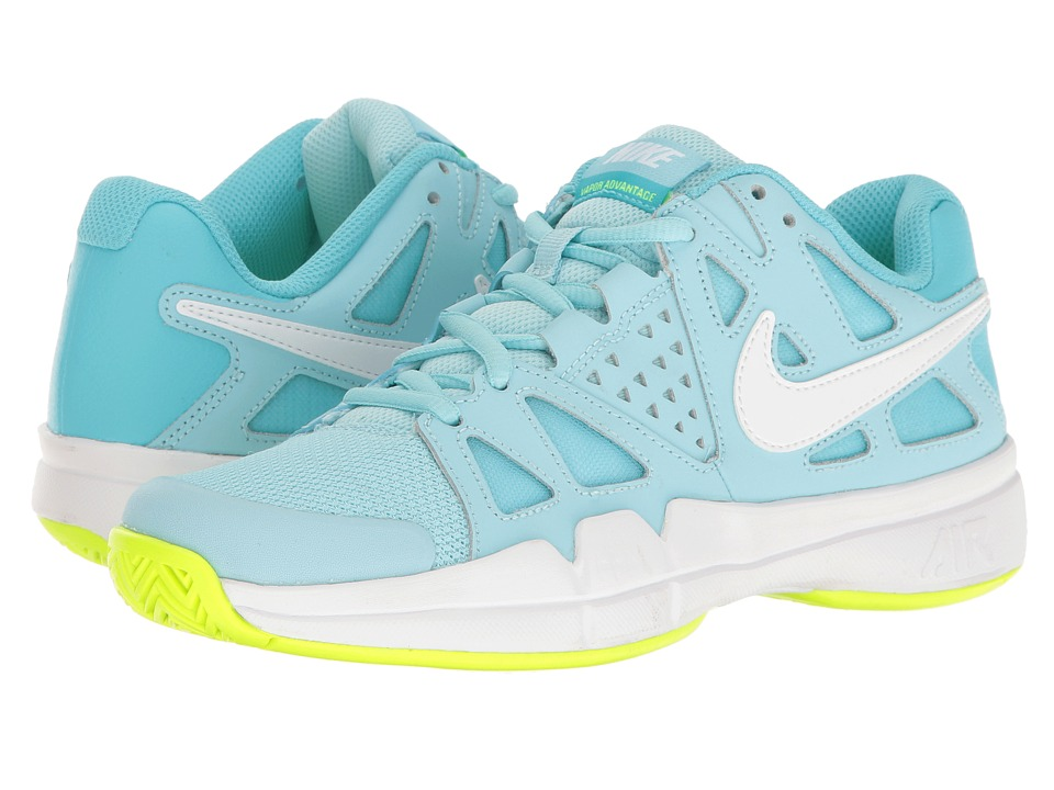 Nike - Air Vapor Advantage (Still Blue/White/Polarized Blue/Volt) Women's Tennis Shoes