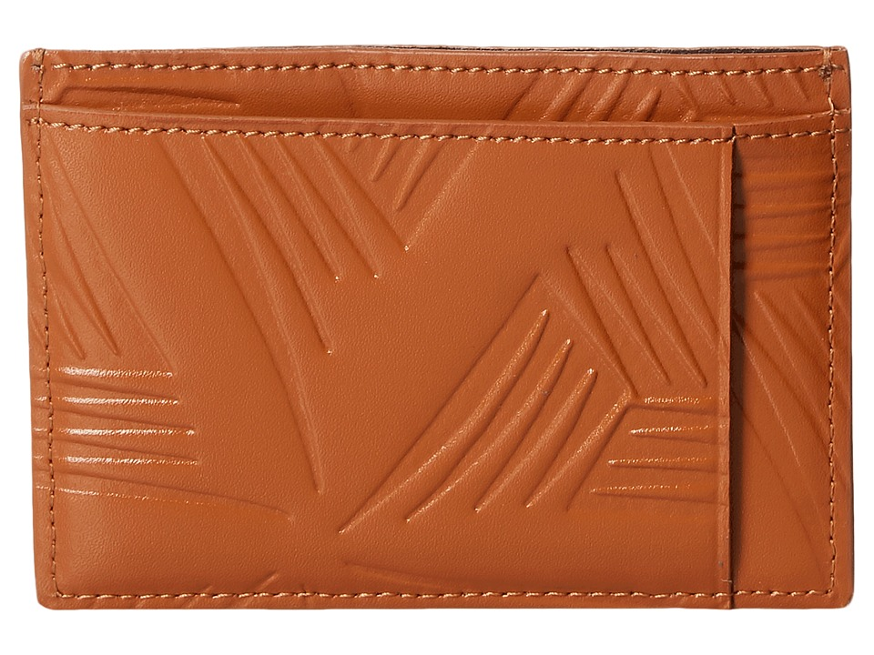 MARNI - Flower Embossed Leather Card Holder (Tan) Wallet Handbags