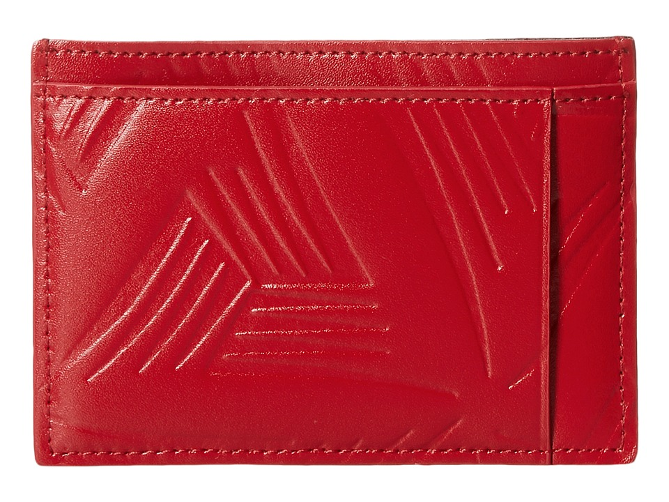 MARNI - Flower Embossed Leather Card Holder (Red) Wallet Handbags