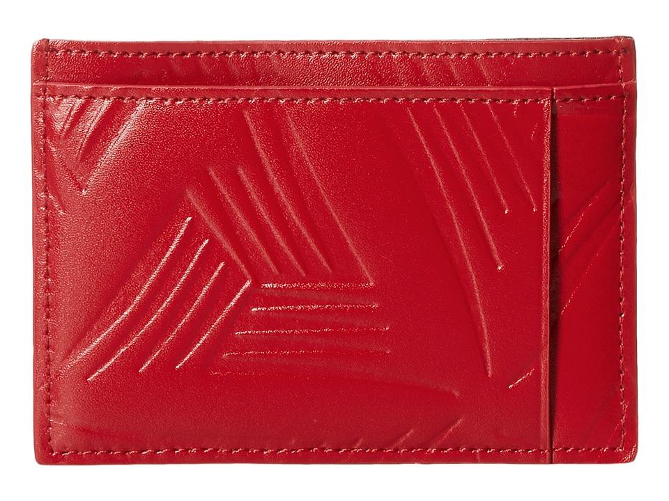 MARNI - Flower Embossed Leather Card Holder (Red) Wallet Handbags